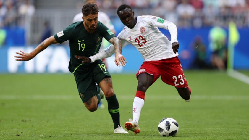 Dinamarca igualó 1-1 con Australia por la segunda fecha del grupo C de Rusia 2018