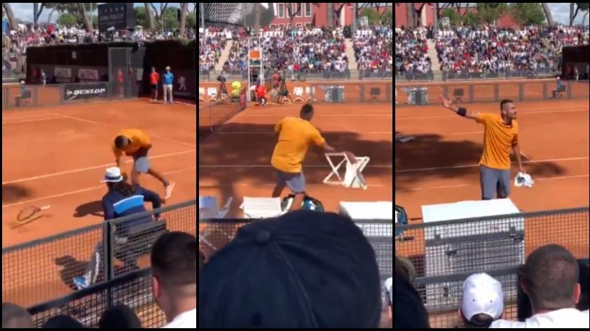 VIRAL: Nick Kyrgios rompió su raqueta, arrojó una silla y fue descalificado del Masters 1000 de Roma (VIDEO)