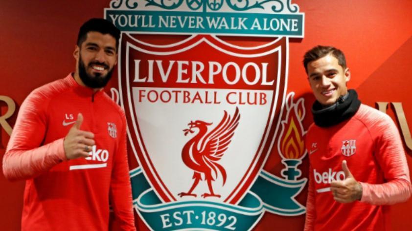 El retorno a Anfield: Luis Suárez y Philippe Coutinho posaron felices junto al escudo del Liverpool