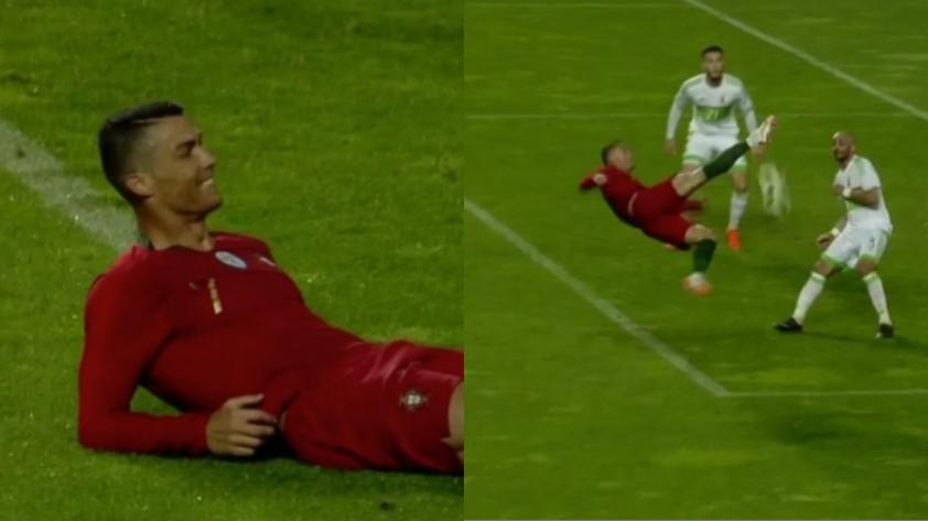 Quiso hacer una tijera y no salió: el increíble fallo de Cristiano Ronaldo ante Argelia (VIDEO)