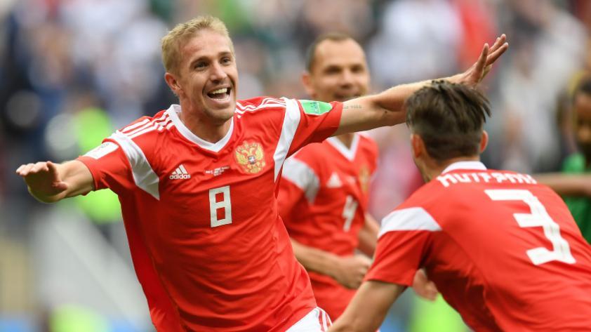 Rusia vs. Arabia Saudita: Yuri Gazinskiy marca el primer gol del Mundial