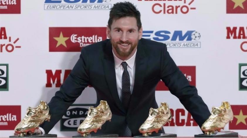 Lionel Messi recibió su carta bota de oro...pero no habló de renovar con el Barcelona