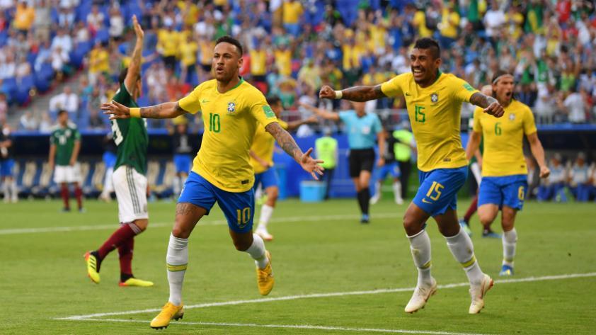 Brasil le ganó 2-0 a México y pasa a cuartos de final de Rusia 2018