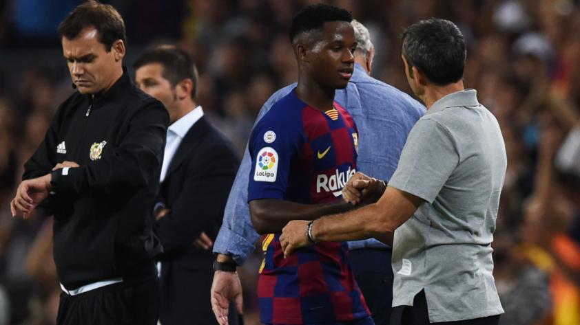 """Ernesto Valverde: """"No es normal que Ansu Fati el primer balón que toque meta gol y el segundo dé una asistencia"""""""