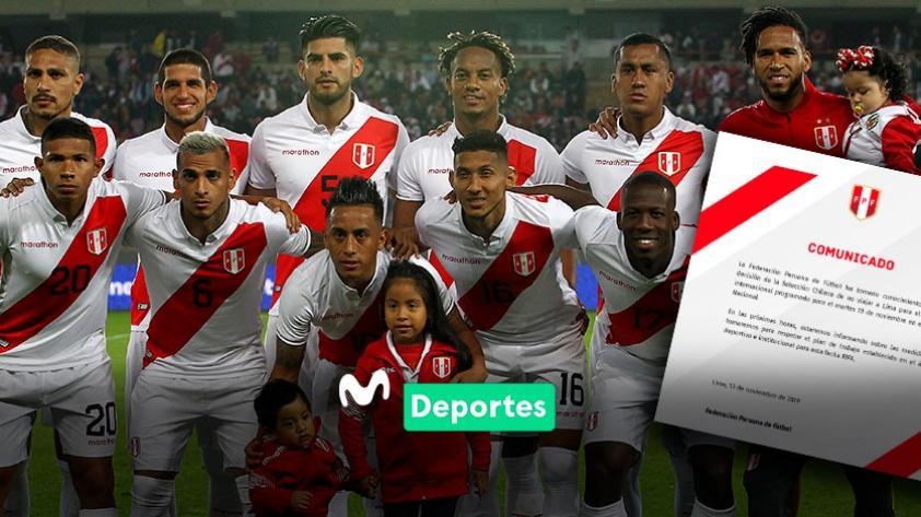 El comunicado de la Federación Peruana de Fútbol tras la cancelación del amistoso contra Chile