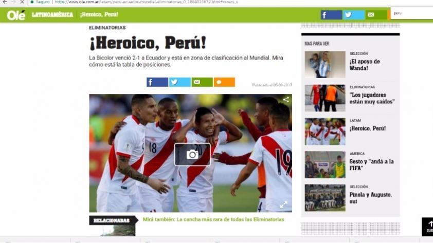 Perú 2-1 Ecuador: ¿Cómo informó la prensa extranjera el triunfo de la blanquirroja?