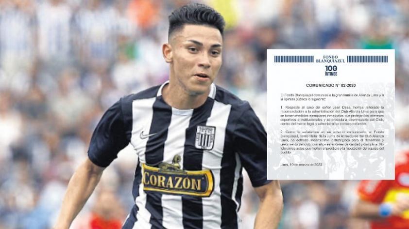 Alianza Lima: Fondo Blanquiazul solicita la desvinculación de Jean Deza