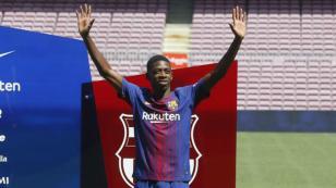 Ousmane Dembélé en su presentación: